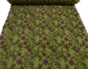 Fabric. Musterwalk Walken Loden relief flower tendrils green fuchsia olive - BN-10-1083