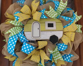 Burlap Fabric Mesh Camper Wreath