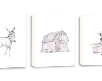 Animal Nursery Art, Donkey, Barn and Cow, Watercolor Nursery Art Canvas, Custom Color, Farm Animals, Set of Three Deep Edge Canvases - S090