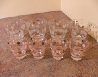 Set of Eight (8) 1950s Fred Press Polka Dot Shot / Rocks Glasses