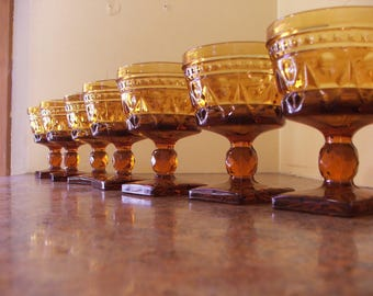 Set of Eight (8) Vintage 1960s Indiana Glass / Tiffin Amber Colony Park Lane Sherbets / Dessert or Champagne Goblets