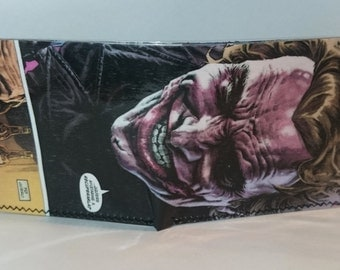 joker 12 - recycled comic book wallet - slim wallet - hanmade wallet - card holder - thin wallet - vinyl wallet - men's wallet