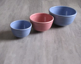 Set of Three BAKE OVEN Small Mixing Bowls - blue and pink