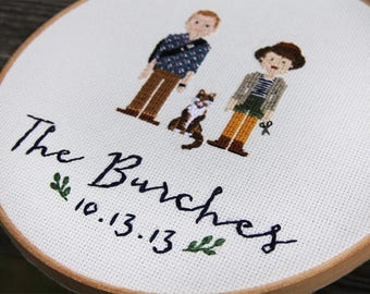 1-3 Figure, Custom Family Portrait - Cross Stitch Finished- Hand Embroidery Hoop Wall Art -Couple Portrait -Custom Wedding Gift-Housewarming