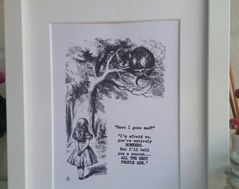 Alice in Wonderland 'Bonkers' Framed print