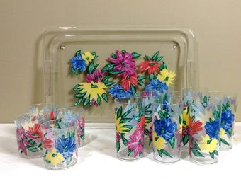 vintage acrylic drinking glasses with matching tray flowered plastic drinking glasses with tray 13