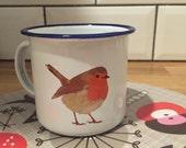 hand printed robin enamel cup