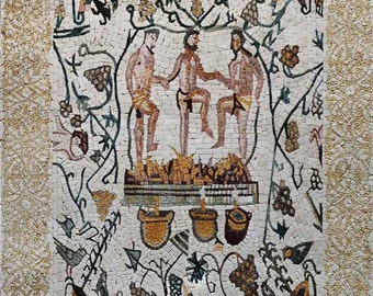 Treading Grapes Roman Mosaic Art