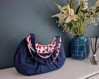 Red cherry hobo bag, blue cotton, magnetic snap, internal zip pocket
