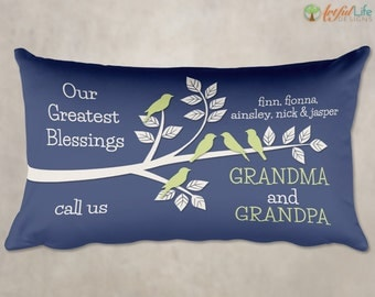 GIFT for GRANDMA, Gift from Grandkids, Grandchildren Pillow, Gift for Grandparents, Personalized Pillow for Grandparents, Greatest Blessings