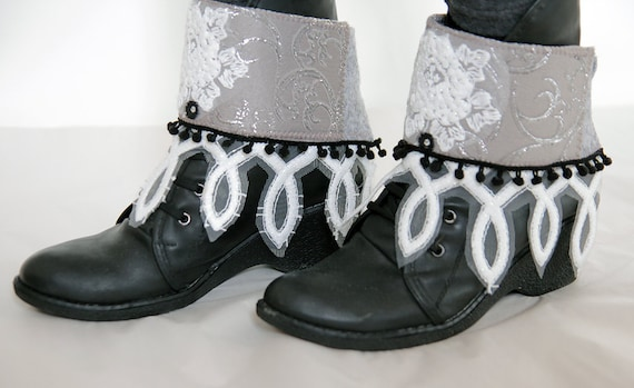 Boho unique crazy boot covers/boot wraps/boot cuffs/Crazy boot decoration/crazy boot spats/wedding boot cuffs