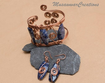 Wire wrapped Antique copper gemstone bracelet, Statement Handmade bracelete cuff and earrings,Sodalite earrings & bracelet cuff-
