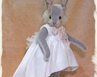 Handmade, mohair, alpaca and viscose bunny, 42cm tall, wearing a bespoke white cotton dress and pin-tuck cloak, gift//Easter//Mothers Day//