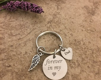 Loss of Father/Dad Keychain Angel Wing  Angel Keychain Loss of Mother Gift