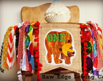 BROWN BEAR Birthday High Chair Highchair Banner Party Photo Prop Backdrop Cake Smash One Garland First Fabric What Do You See Custom