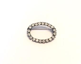 Vintage Rhinestone Oval Stock Pin. Vintage Rhinestone Oval Brooch. Vintage Crystal Oval Brooch. Vintage Crystal Oval Pin.