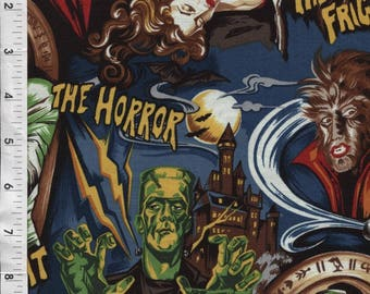 "Robert Kaufman ""Pleasures & Pastimes""Horror Movie Monsters Fabric"