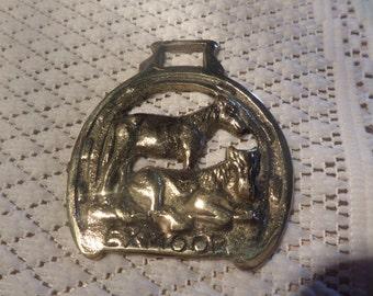 Horse brass, Exmoor ponies, two ponies,   horse brass, vintage brass, horse tack, horse medallion, equestrian brass, brass medallion
