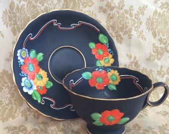 Grimwades Atlas Stoke-on-Trent England Black Matte Handpainted Bright Flowers Numbered