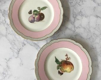 Antique Limoges Plates, Haviland Limoges France (2) | limoges fruit plates, pink limoges, cabinet plates, decorative plates, french limoges