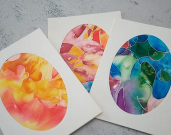 3 hand-painted silk design, painted silk card, birthday card unique silk painting, shipping