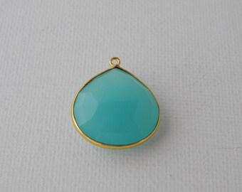 Aqua blue chalcedony pendant, bezel set chalcedony, gold vermeil, blue chalcedony, tear drop shape