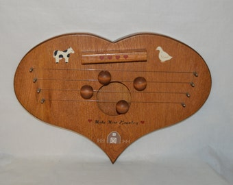 Door Harp Chime Make Mine Country Cow Duck Barn Four Hearts Hand Made Wooden Unique One of a Kind Perfect Gift New Home Wedding