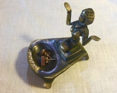 Vintage Egyptian Brass - Kneeling Cleopatra Figurine - Art Deco Egyptian Revival Solid Brass - Smoking Collectable