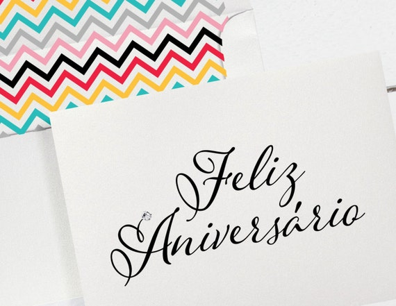 Portuguese Birthday Card with Chevron Lined by DenaMariaPapers – Portuguese Birthday Cards