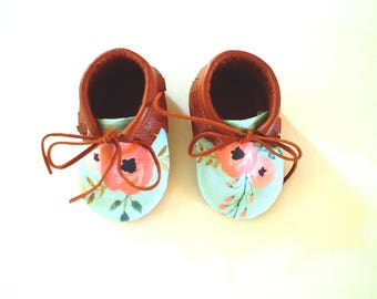 Baby Moccasins- Floral & Leather Tie