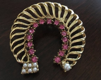 Vintage Gold and Pink Rhinestones with Faux Pearls - Marked Gerrys