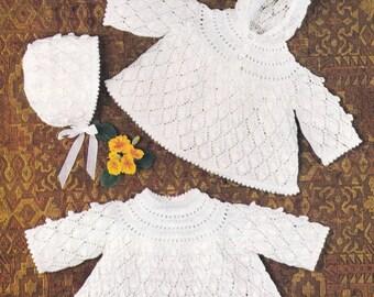 Vintage knitting pattern baby angel tops angel top bonnet INSTANT download pattern only pdf