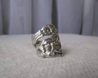 """Sterling Spoon Ring - Spoon Jewelry - Silverware Jewelry, floral ring, sterling ring, flowers,""""Lily"""" - by Whiting, 1902 - Highly Collectible"""