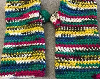 Handmade Crochet Arm Warmers Dark Rainbow