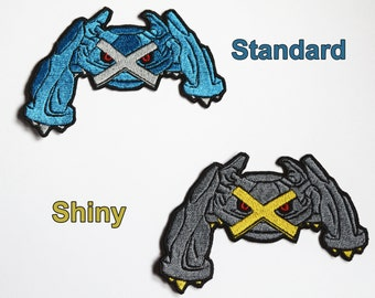 Metagross - Iron on patch - Shiny Metallic Embroidered.   Pokemon patch.