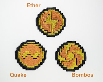 Zelda Link to the past Medallions - Iron on patch - Shiny Metallic Embroidered.   Zelda patch.  Ether, Bombos, or Quake.