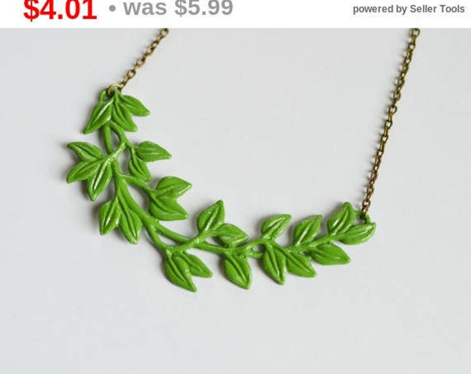 SALE! Necklace made of metal brass covered ECO paint, Branch, Leaves, Green