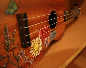 British Wildflower Hand Painted Ukulele