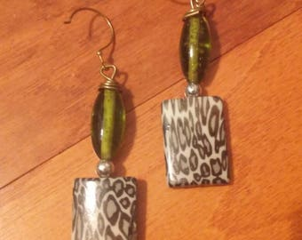 Green Leopard Stone earrings, Leopard Print, Leopard Print Jewelry
