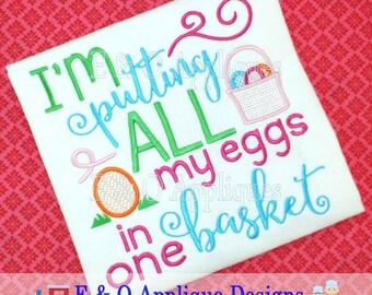 Easter Basket Embroidery Design - Easter Embroidery Design - Egg Hunt Embroidery Design - Easter Egg Embroidery Design - Digital Design
