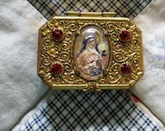 Antique Brass Rosary Box