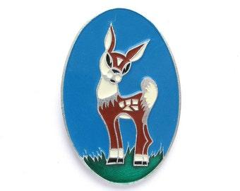 Deer, Vintage metal collectible badge, Fawn, Brooch, Soviet Vintage Pin, Vintage Badge, Made in USSR, 1980s