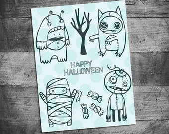 Halloween stamps, mummy stamps, zombie stamps,  Rubber Stamps by Starving Artistamps