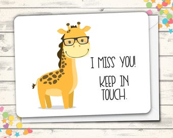 Giraffe Miss You Card, Friendship Greeting Card, Miss You Friend, Clever Cards, Silly Friend Card, Just A Note, Cards with Puns