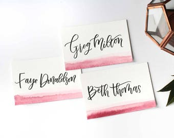 Watercolour Modern Calligraphy Place Cards