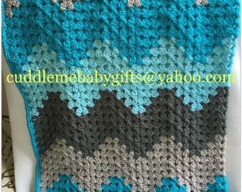 Baby Shower Handmade Crochet Baby Blanket baby blue Brown White Baby Afghan Baby Shower Gift Baby Boy Baby Girl