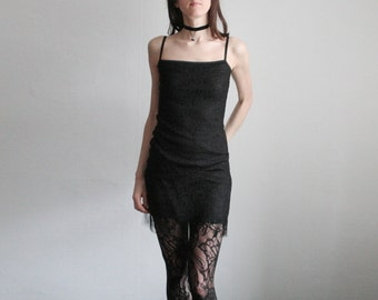 Vintage S/M black lace mini dress