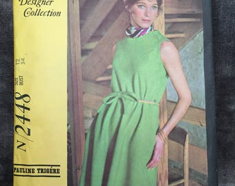 Vintage N 2448 McCall's Designer Collection sewing pattern pauline Trigere misses dress size 12