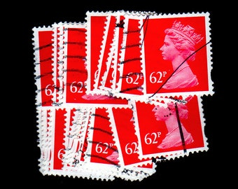 25 used Carmine G.B. Postage Stamps