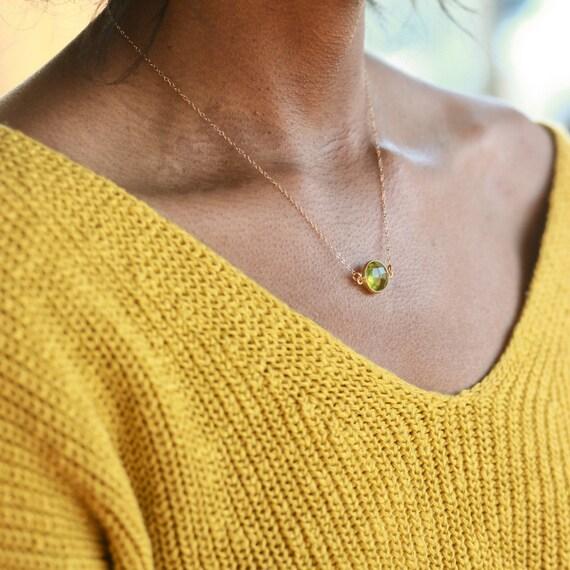Peridot Pendant, August Birthstone Necklace, Dainty Necklace Peridot, Dainty Peridot Necklace, Tiny Peridot, Peridot Jewelry, August